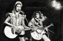 Load image into Gallery viewer, Prettiest stars - David Bowie & Marc Bolan - Pencil Illustration