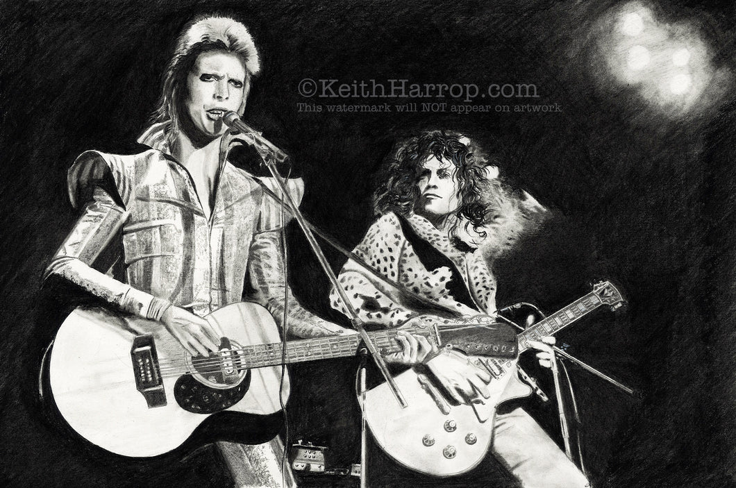 Prettiest stars - David Bowie & Marc Bolan - Pencil Illustration