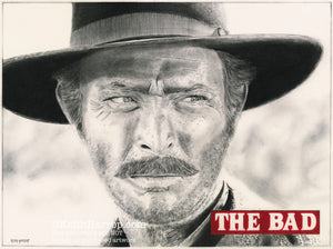 The Good, The Bad, and the Ugly - Lee Van Cleef - Pencil Illustration