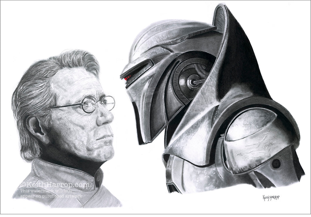 Adama & Cylon - Battlestar Galactica - Pencil Illustration