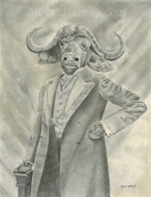 Load image into Gallery viewer, Animorphia #7 (Water Buffalo) - Pencil Illustration