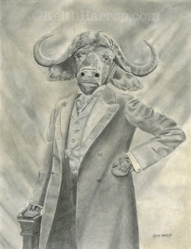Animorphia #7 (Water Buffalo) - Pencil Illustration