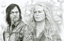 Load image into Gallery viewer, Carol and Daryl (The Walking Dead) - Pencil Illustration
