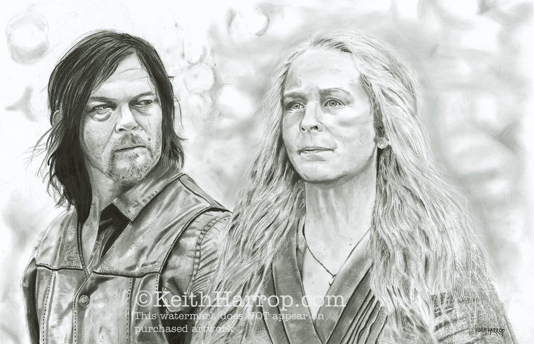 Carol and Daryl (The Walking Dead) - Pencil Illustration