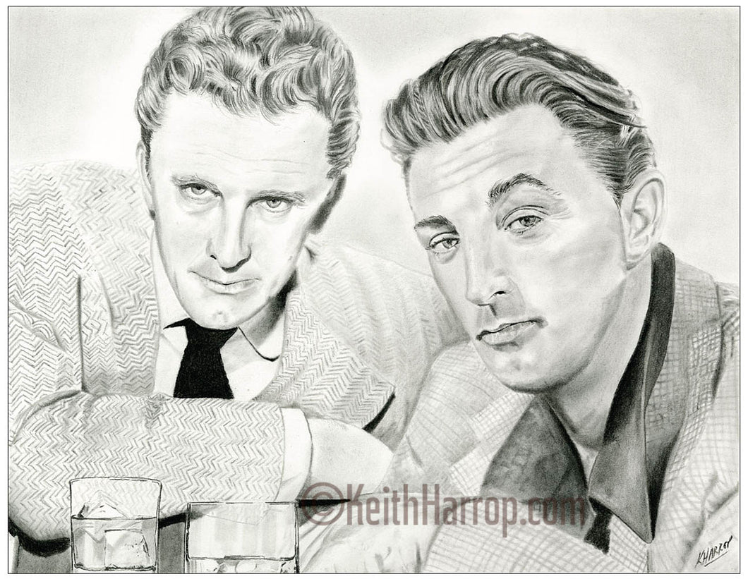Kirk Douglas and Robert Mitchum - Pencil Illustration