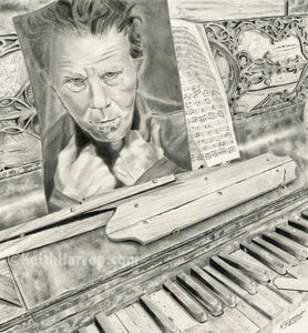 Tom Waits and an old piano - Pencil Illustration