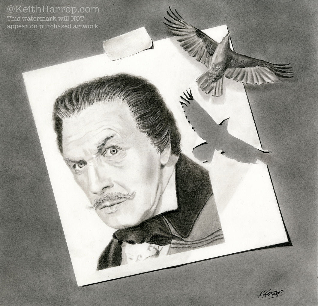 Vincent Price with Raven - Pencil Illustration