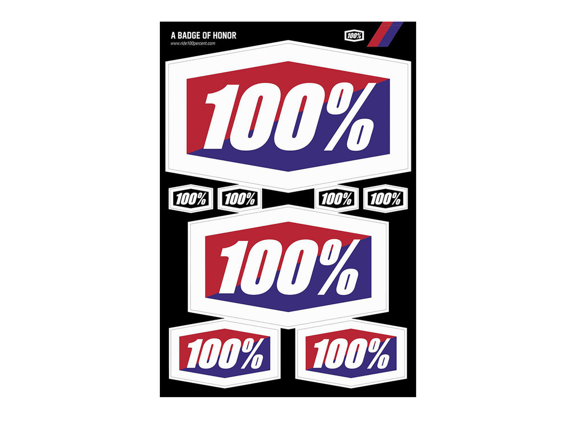 100% Logos Decal Sheet - 12x8""