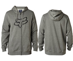 Fox Racing Legacy Fox Head Zipped Hoody - Light Gray