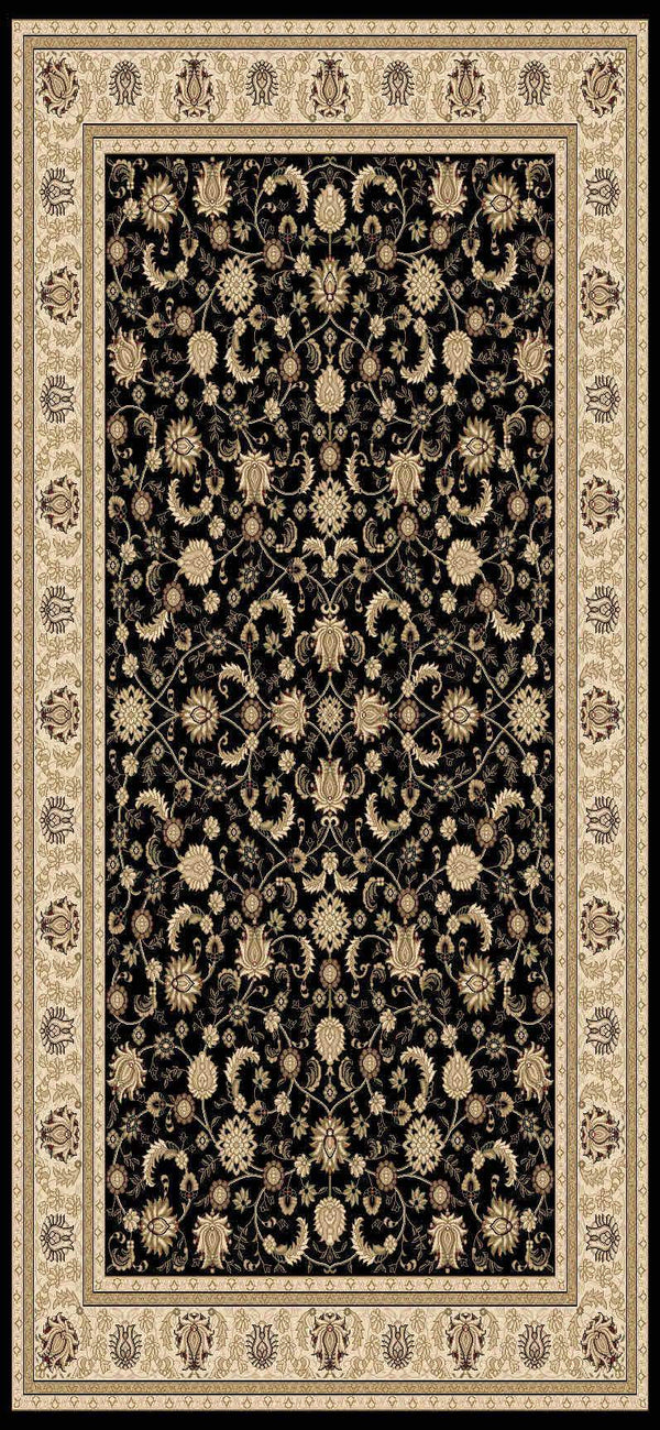 Issa Black Cream Bordered Traditional Rug