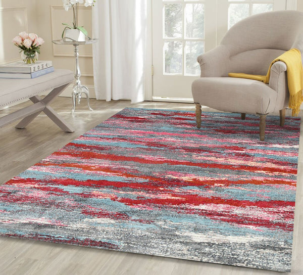 Virgo Multicoloured Horizontal Ribbon Stripes Rug