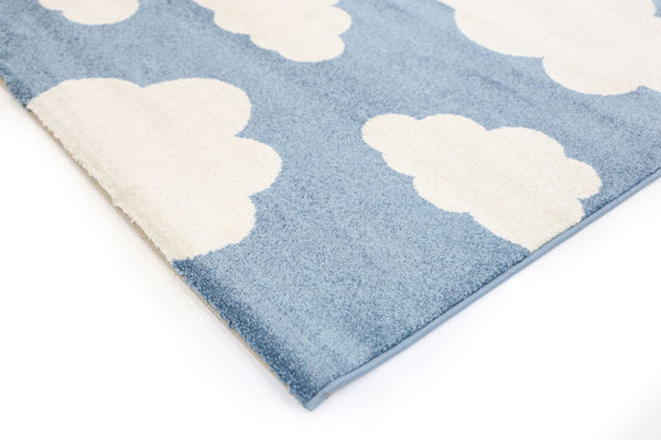 Playhouse Kid'S Cloud Blue White Rug