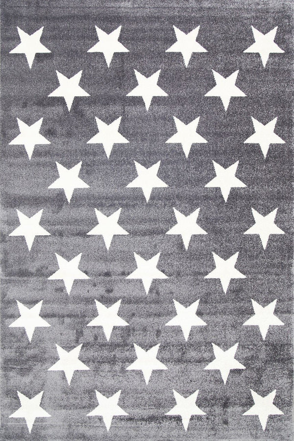 Playhouse Kid'S Stars Charcoal White Rug