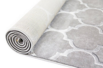 Orlando Textured High Low Pile Trellis Grey Rug