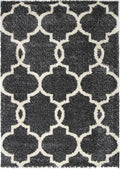 Autumn Lattice Charcoal Cream Shag Rug