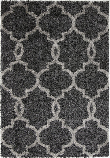 Autumn Lattice Charcoal Grey Shag Rug