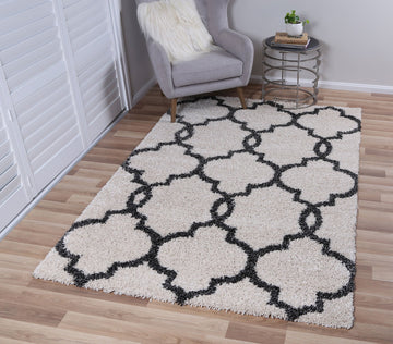 Autumn Lattice Cream Charcoal Shag Rug