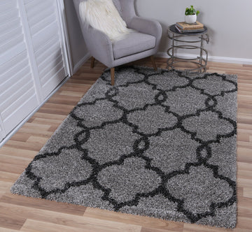 Autumn Lattice Grey Charcoal Shag Rug