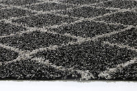 Autumn Diamond Charcoal Grey Shag Rug