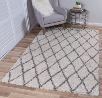 Autumn Diamond Cream Grey Shag Rug