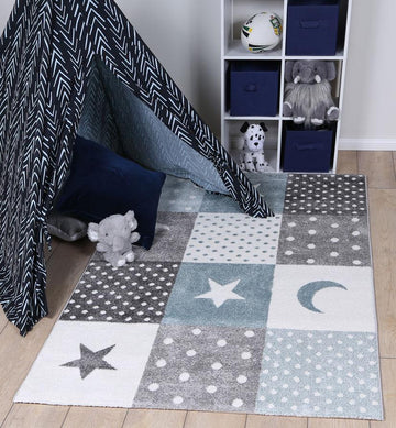 Rachel Blue Grey Stars And Hearts Rug