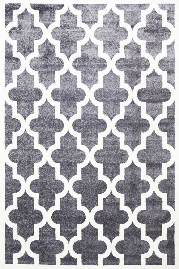 Playhouse Kid'S Lattice Pattern Grey White Rug