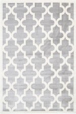 Playhouse Kid'S Lattice Pattern Light Grey White Rug
