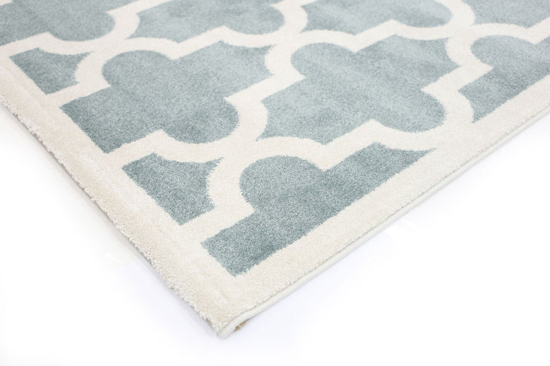 Playhouse Kid'S Lattice Pattern Auqa White Rug