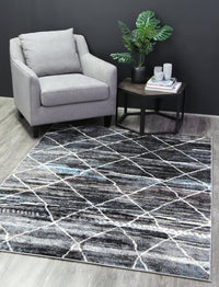 Madison Moroccan Trellis Blue Grey Rug