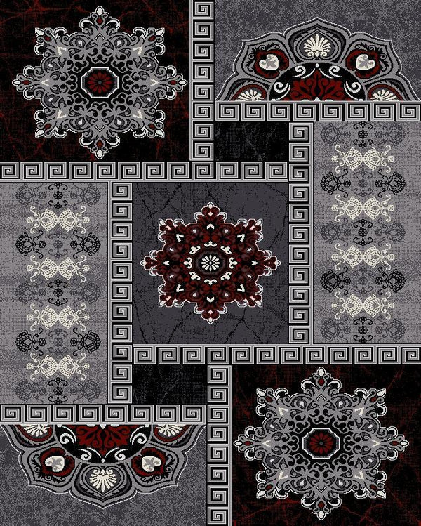 Fiona Grey Red Flower Rug