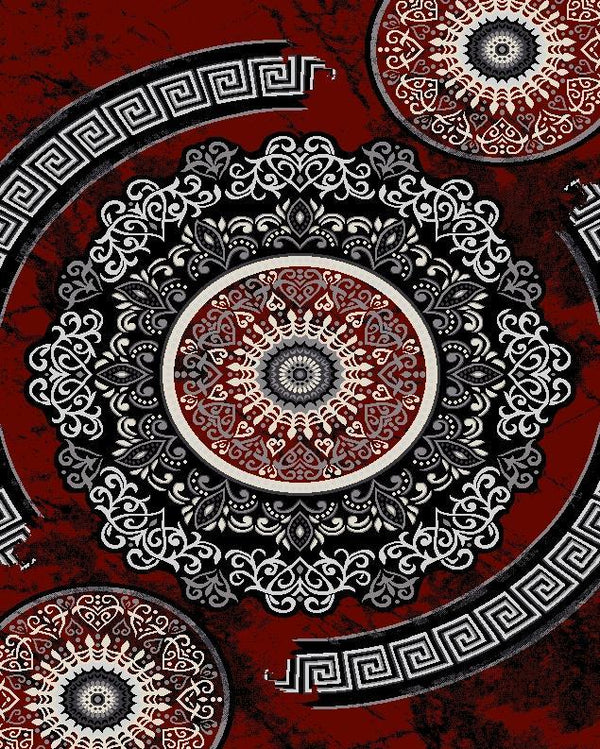 Fiona Red Grey Flower Rug