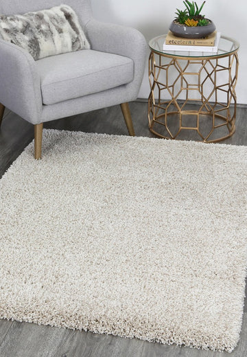 Ashen Beige Cream Shaggy Rug