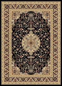 Julius Black Cream Bordered Medallion Oriental Rug