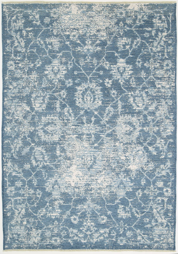 Kimberly Vintage Classic Amazing 2 In 1 Reversible Blue Rug