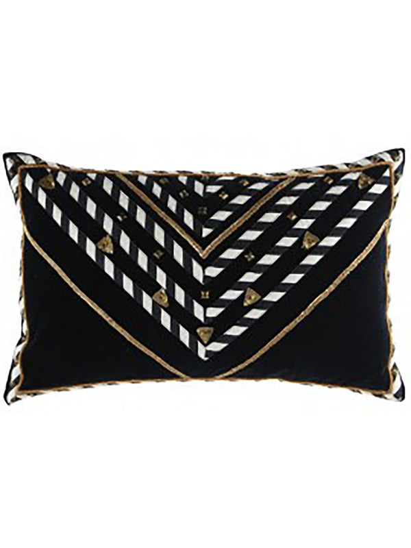 Keya Cushion 35X55 Black White And Gold Rug