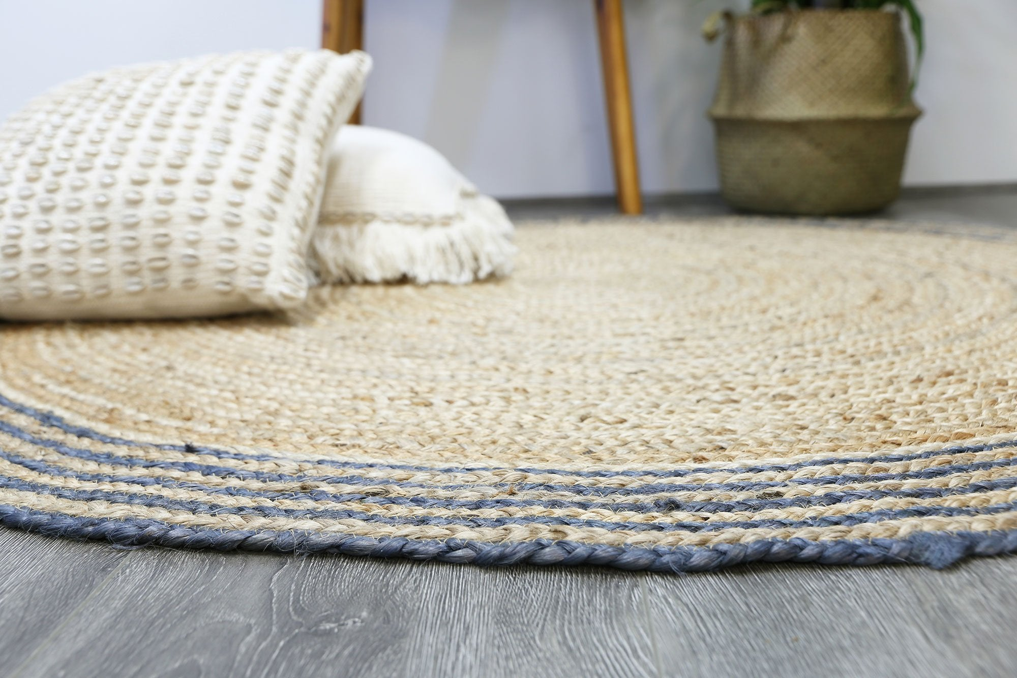 Gabe Natural Round Grey Border Rug The Australian Aurugs
