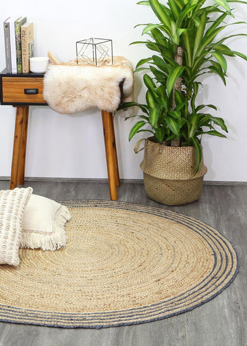 Gabe Natural Round Grey Border Rug