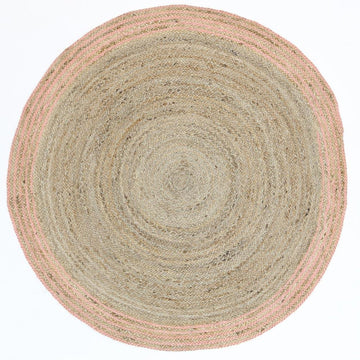 Gabe Natural Round Pink Border Rug