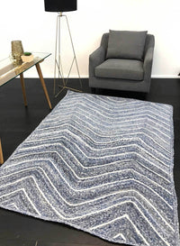 Artisan Natural Chevron Denim Rug