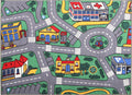 Non Slip Green Kids City Traffic Road Rug