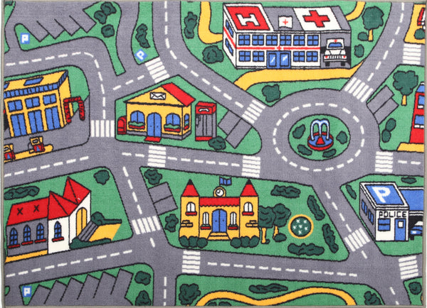 Non Slip Green Kids City Traffic Road Area Rug Baby Play Mat 100x150 cm .