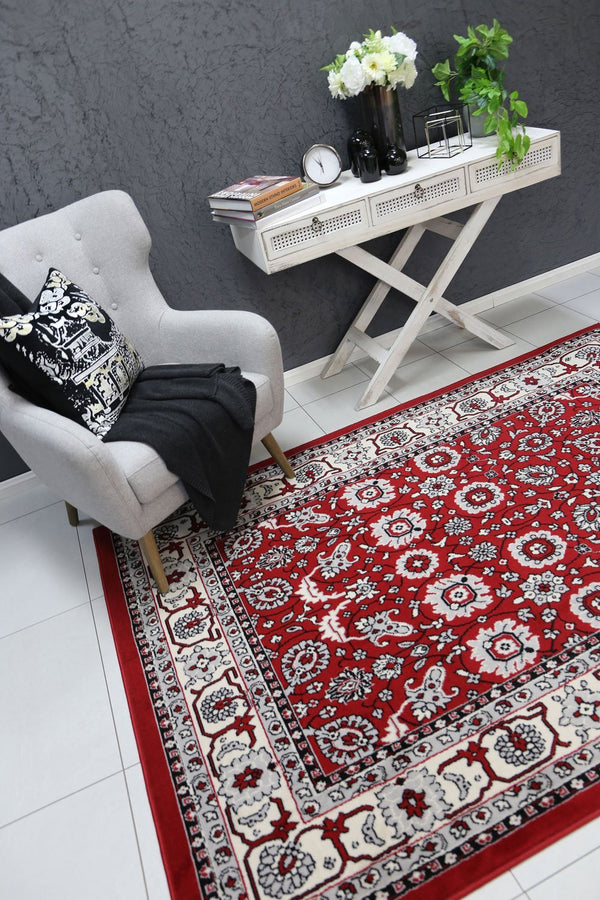 Allure Traditional Boarder Design Red Rug