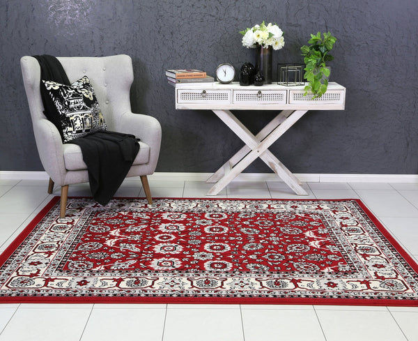 Mirage Traditional Border Design Red Rug