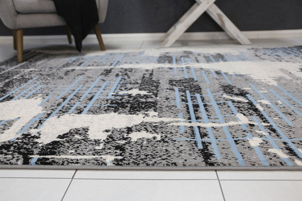 Mirage Modern Urban Distressed Grey Blue Rug