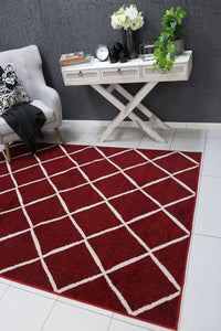 Allure Cross Diamond Red Cream Rug