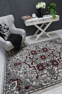 Allure Distressed Vintage Red Grey Rug