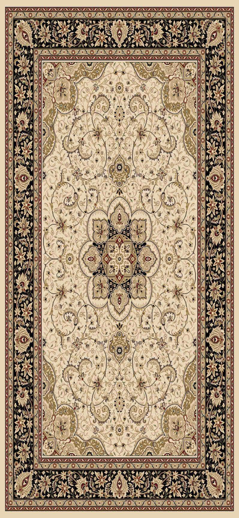 Issa Cream Black Bordered Medallion Traditional Rug