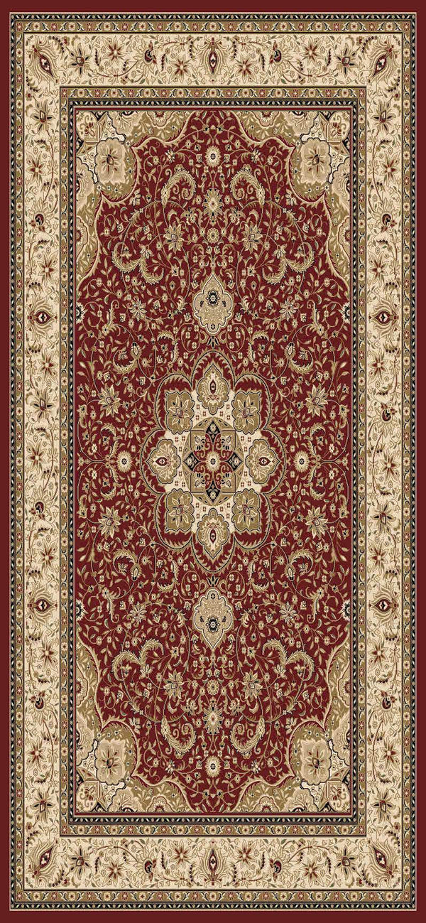 Issa Red Cream Bordered Medallion Traditional Rug