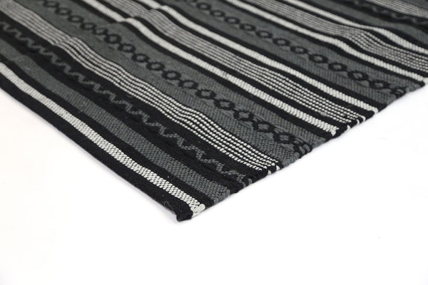 Illusion Natural Cotton Black Rug