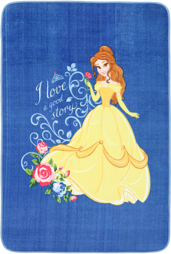 Non Slip Blue Kids Disney Beauty and the Beast Princess Belle Love Area Rug Baby Play Mat 100x150cm